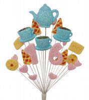 Afternoon tea 16th birthday cake topper decoration in pale blue and pale pink - free postage